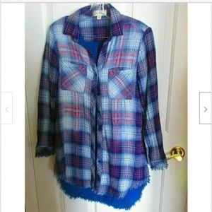 Cloth & Stone Plaid Shirt w/ Frayed Hem XS